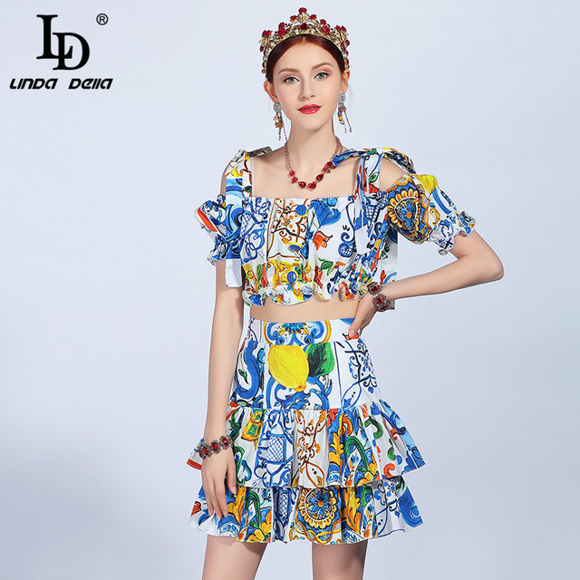 Summer Runway Vacation Two-Pieces Suit Sets Women 100% Cotton Printed Top+Casual Holiday Ruffles Mini Skirts Suit