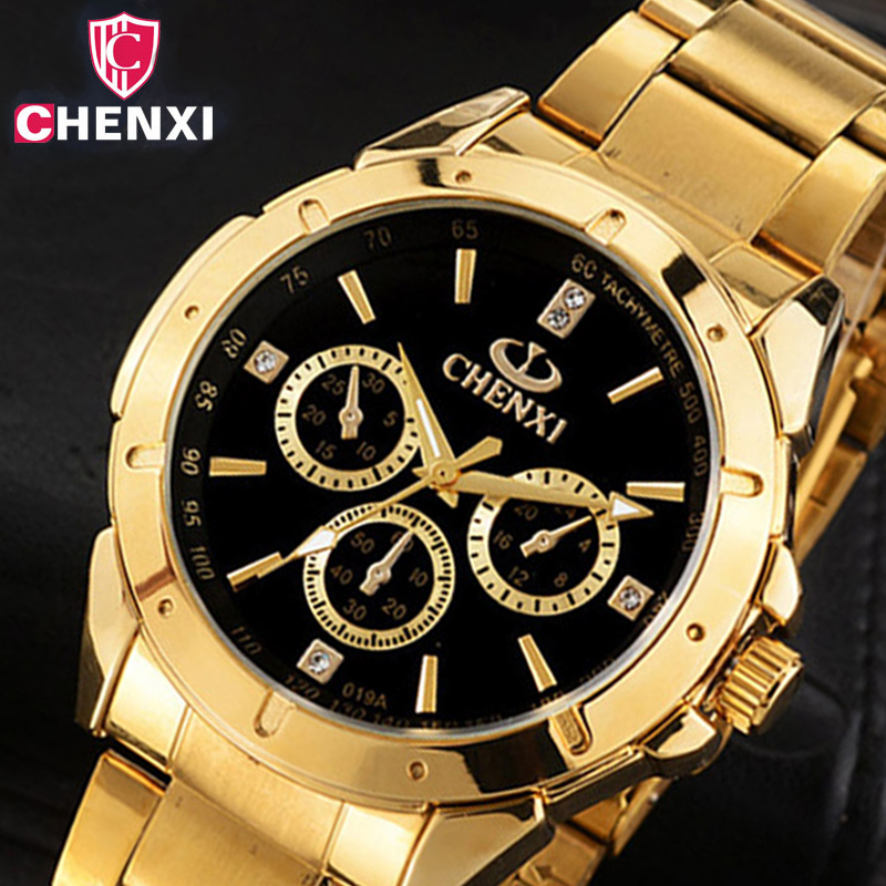 CHENXI Luxury Gold Herreklokker Unik Business Dress Armbåndsur for Man Woman Lover's Clock Golden Vanntett Mann Kvinne 019A