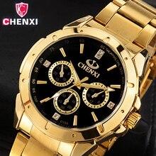 CHENXI роскошные золотые Мужские часы Уникальный платье в деловом стиле наручные часы для человека женщина любовника часы золотой Водонепроницаемый мужской женский 019a