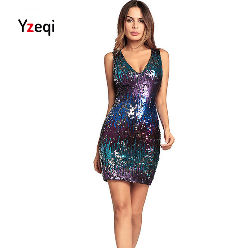Yzeqi Summer Patchwork Sleeveless Sequined Bodycon Vintage Plus Size Ladies Dresses V-Neck Package Hip Slim Women dress