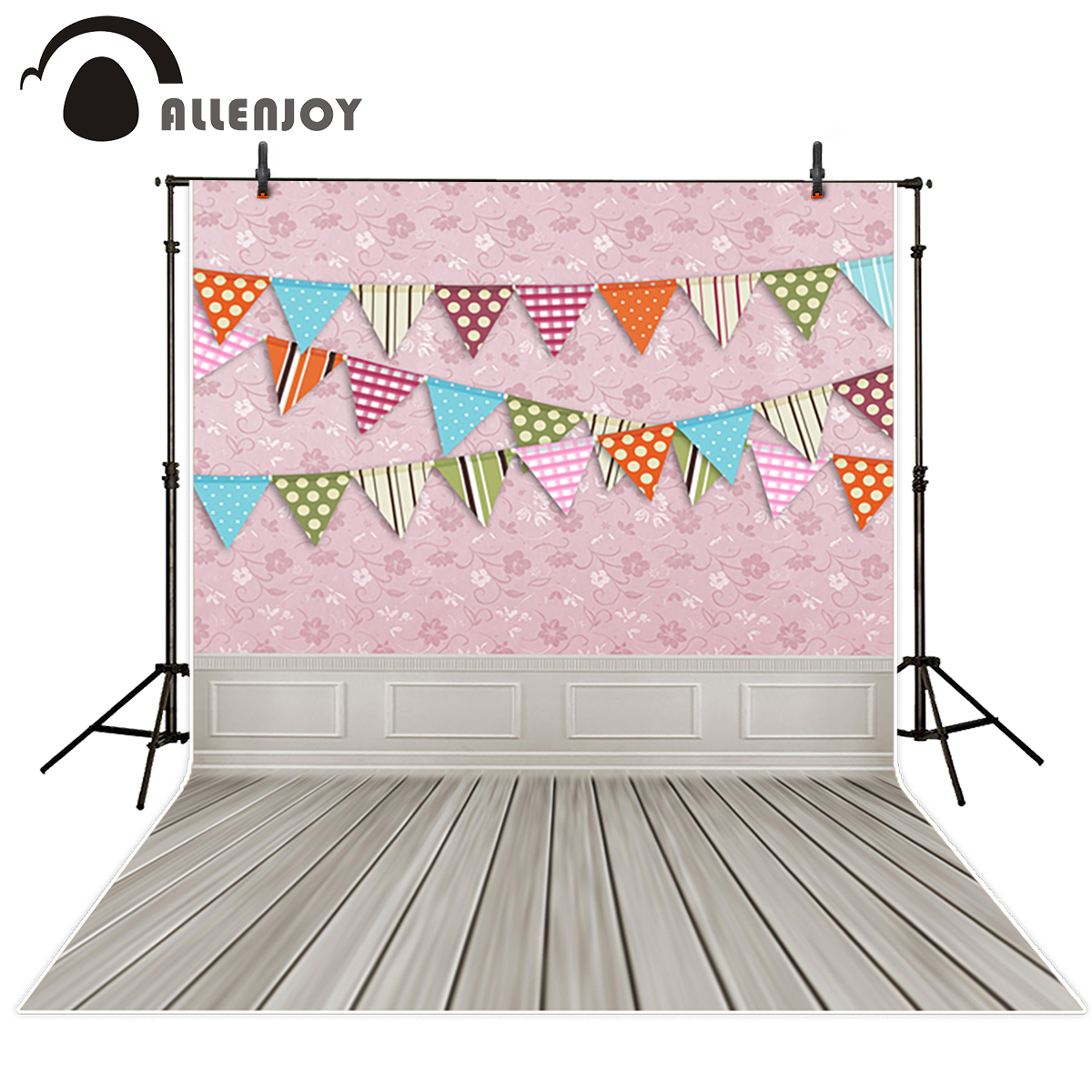 Allenjoy photography Store Allenjoy photography background pink flower wall colorful flags backdrops newborn kids photo photocall customize