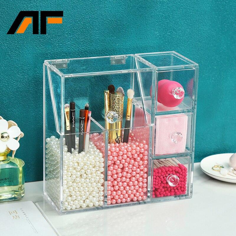 Organizador de maquillaje acrílico AF con 2 bolsas de perlas, caja de exhibición de cepillos de maquillaje, caja de almacenamiento de herramientas cosméticas, caja de accesorios de joyería
