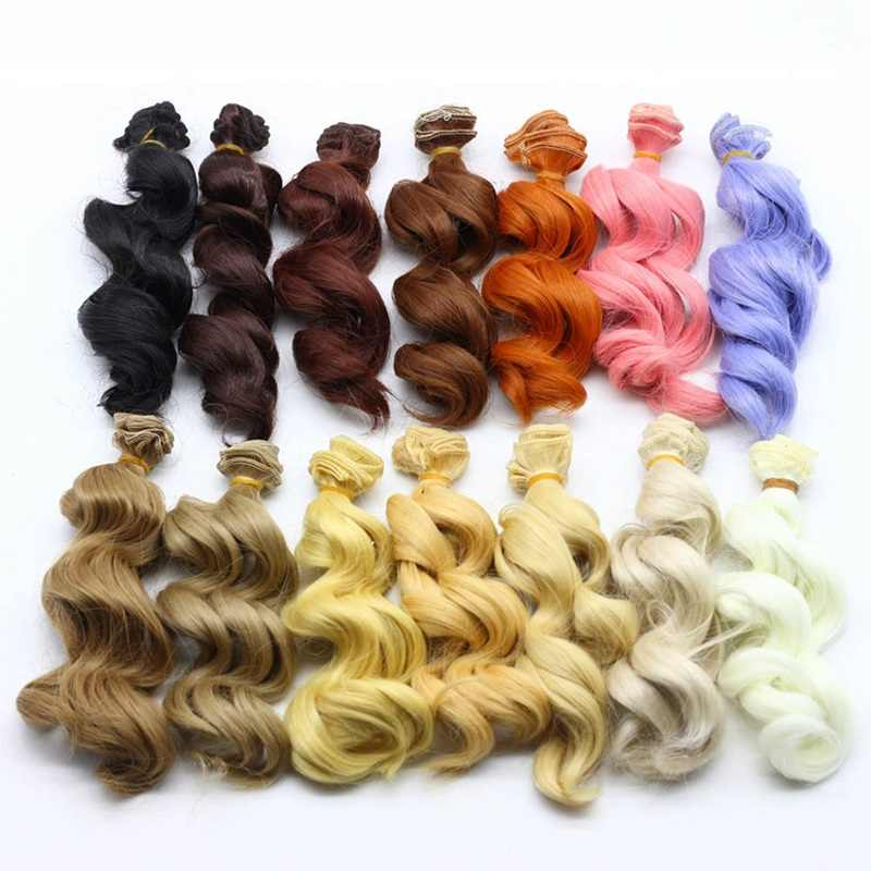 Hot 15cm High Temperature Big Wave Handmade Cloth Doll Wigs DIY Texitle Doll Curl Hair