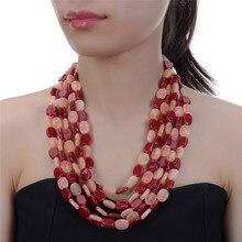 JEROLLIN 5 Colors Ethnic Tibetan Artifical Coral Stone 5 Layers Beaded Necklace Handmade Jewelry Bohemia Women Necklace недорого