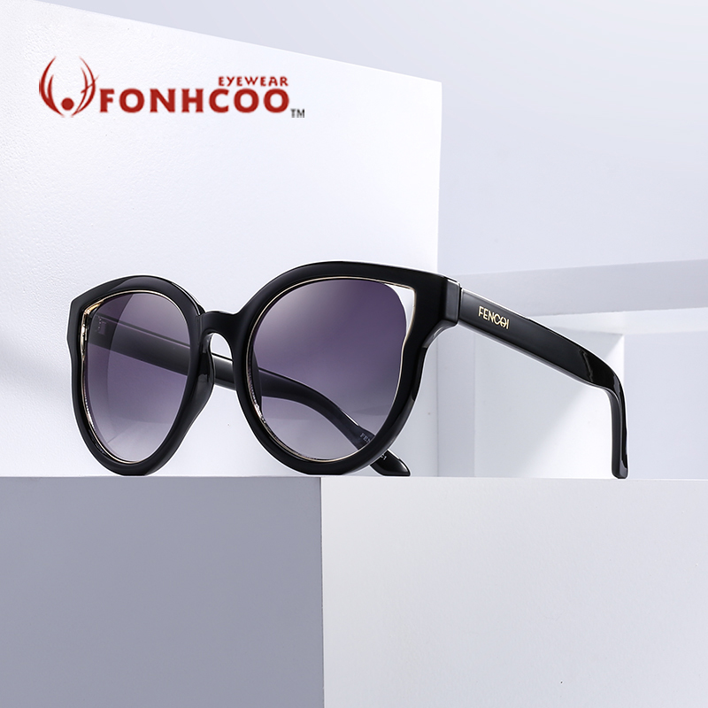 2018 FONHCOO Cat Eye Sunglasses Women Brand Designer Cat Ear glasses driver UV hot rays Fashion Round Vintage Oculos de sol