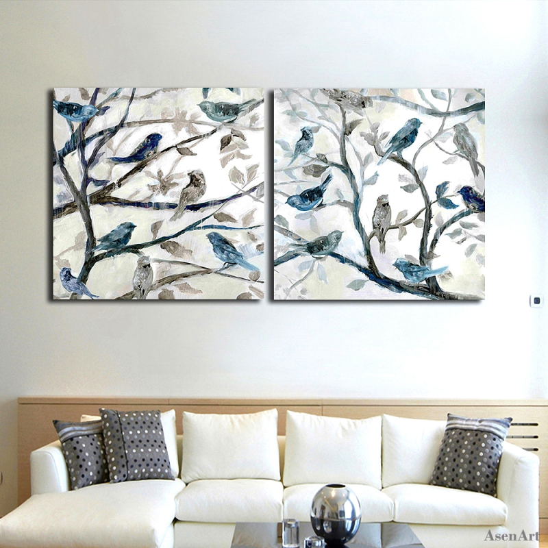 Hand Painted Abstract Oil Painting On Canvas 2 Piece Modern Bird Singing on  The Branches Wall Art Set for Living Room Home Decor