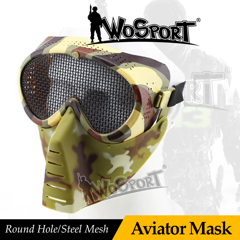 WoSporT Protective Full Face Tactical Military Aviator Mask With Steel Net Mesh Goggle Outdoor For Hunting Paintball Feild Game
