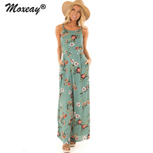 цена на Moxeay Wide Leg Jumpsuit 2019 Square Neck Full Length Halter Boho Jumpsuit Wide Leg Bodysuits Floral Playsuit Romper Women Beach