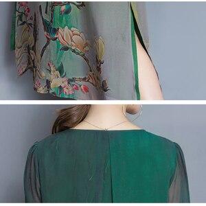 Image 4 - نمط جديد الربيع و الصيف جودة فستان الإناث حجم كبير فضفاض طباعة فستان كامل مادة لينة خمسة أرباع كم فستان M 4XL