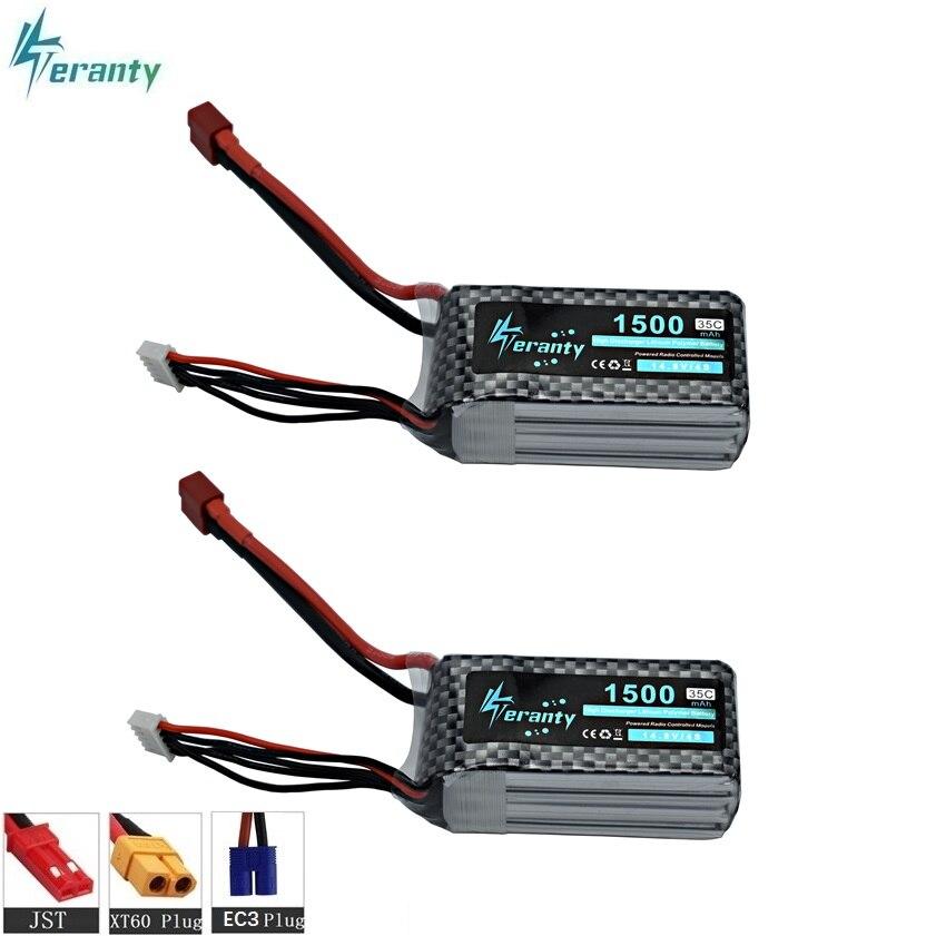 14.8 v 1500 mAh 35C LiPo Batterie avec T/XT60/JST/EC3 Fiche 11.1 v 4S Rechargeable Lipo Batterie Pour RC Voiture Avion Hélicoptère 2 pcs