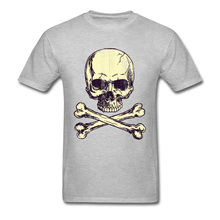 Pirates Icon Tshirt Men Grey Skull T Shirt Round Neck T-shirts Summer Fall Tops Short Sleeve Classic Cotton Design Tees Unique round neck abstract skull pattern short sleeve t shirt for men