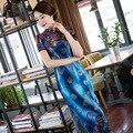 TIC-TEC women cheongsam long qipao chinese traditional dress oriental dresses autumn velvet vintage print elegant clothes P2935