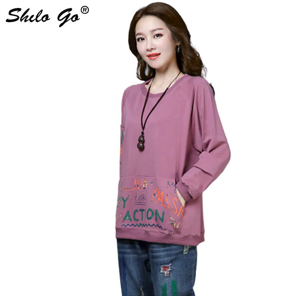 Plus size Cotton Sweatshirts Women Spring Casual Letter Printed O Neck Sweatshirt Long Sleeve Pullover Tops Streeatwear in Hoodies amp Sweatshirts from Women 39 s Clothing
