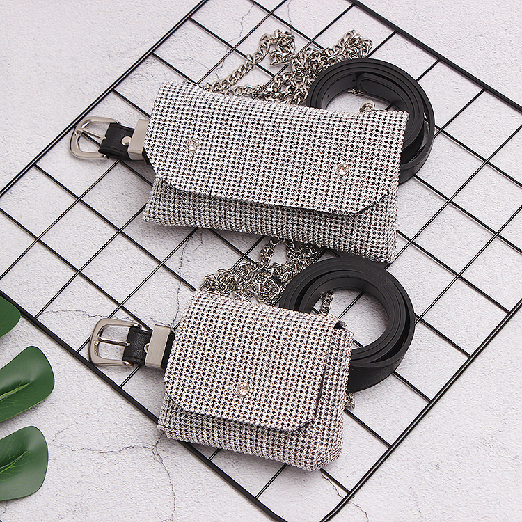 2019 Bling Rhinestone Waist Bag Belt Women Fanny Pack Design Brand Waist Chain Packs Ladies Shoulder Handbag Phone Envelope Bag