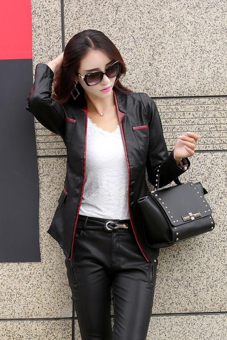 Leather   Jackets For Women   Suede   Blazer Biker Ladies Patchork Synthetic Lether V-neck Factory Direct Faux   Leather   Jac M-5XL