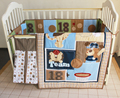 8 Pc Crib Infant Room Kids Baby Bedroom Set Nursery Bedding Brown Blue Sport Animal Cot bedding set for newborn baby boy