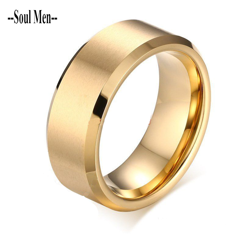 8MM Gold Color Mens Tungsten Carbide Marriage Rings
