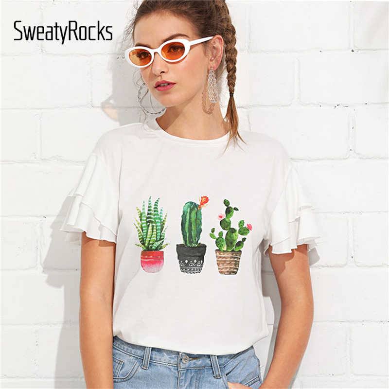 47ead1c994ba SweatyRocks Layered Butterfly Sleeve Cactus Print Tee White Round Neck  Short Sleeve Ruffle Tops Women Summer