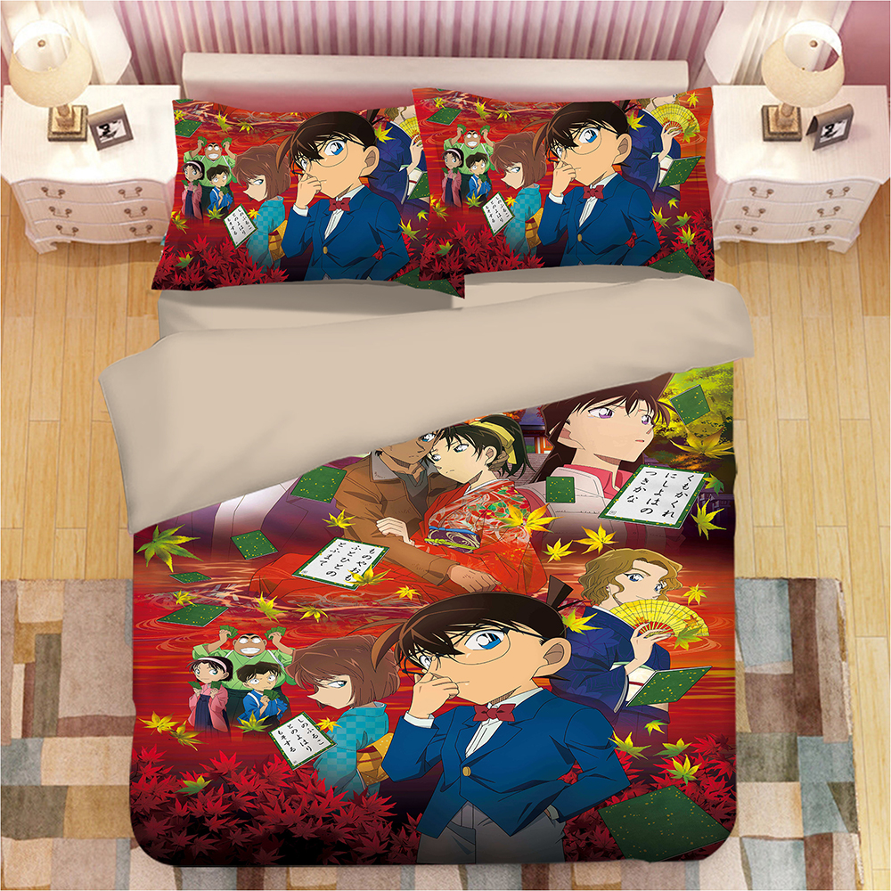 Japanese Anime Bedding Set Twin Queen King Size Duvet Cover Pillowcase Detective Conan quilt cover sets luxury red bedclothesJapanese Anime Bedding Set Twin Queen King Size Duvet Cover Pillowcase Detective Conan quilt cover sets luxury red bedclothes