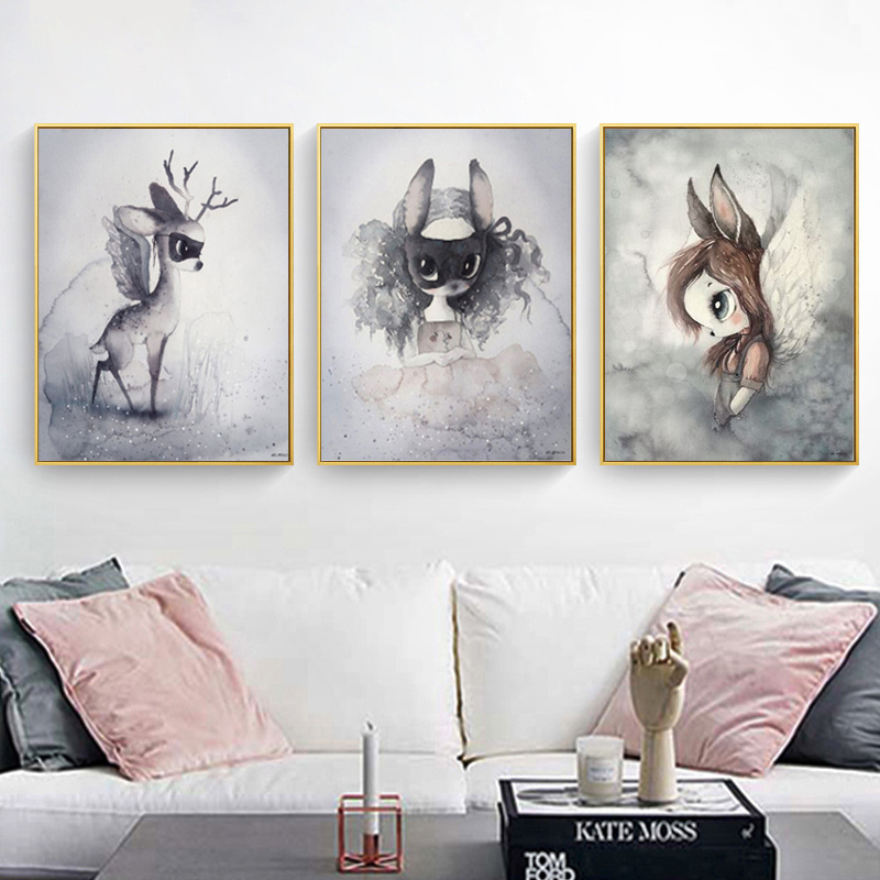 Nordic Mask Rabbit Girl On Moon Angel Cartoon Canvas Painting Wall Pictures for Kids Nursery Room Decoration Wall Poster wavefun xpods 3