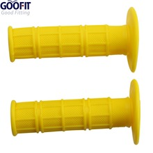 GOOFIT 1 Pair Yellow Motorcycle Motocross Hand Pro Grips Dirt Bike Gel Handle Bar Universal Atvs E033-143