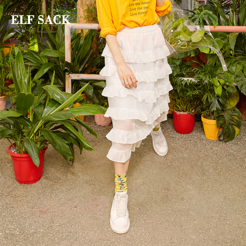 ELF SACK 2019 New Spring Woman Skirt Solid Natural Mid Calf Women Skirts Casual Straight Female