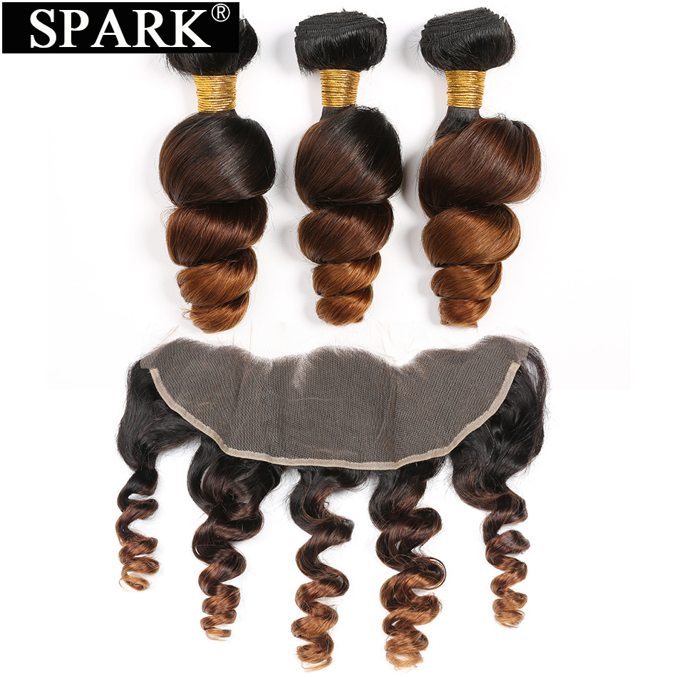 Spark Brazilian Loose Wave Human Hair 3/4 Bundles With Closure 13x4 Ear to Ear Lace Frontal Closure With 1B/4/30 Remy Hair