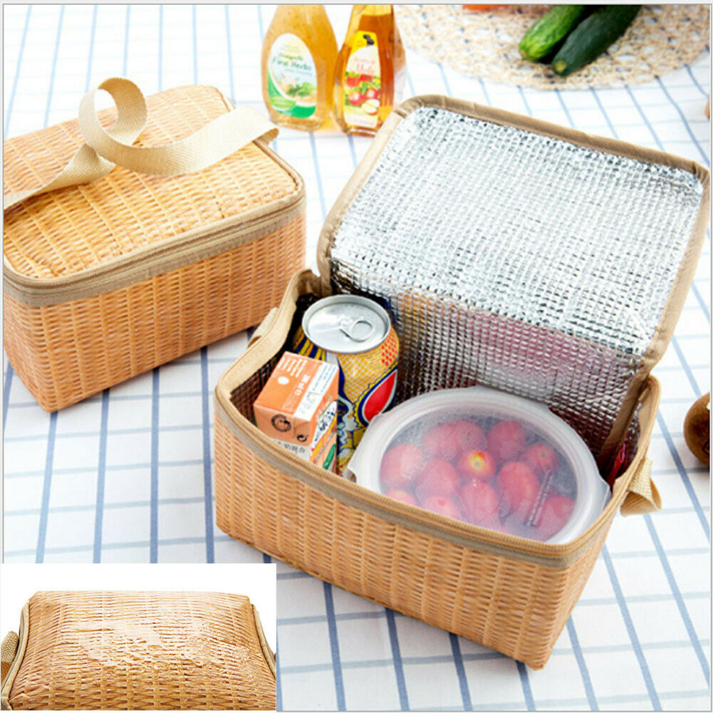 2019 Newest Hot Imitation Rattan Portable Insulated Thermal Cooler Lunch Bags Carry Tote Picnic Case Japan Style  Lunch Bags