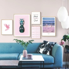 Pink Flamingo Nordic Poster Art Home Decor Pineapple Wall Canvas Painting Posters Pictures For Living Room Unframed