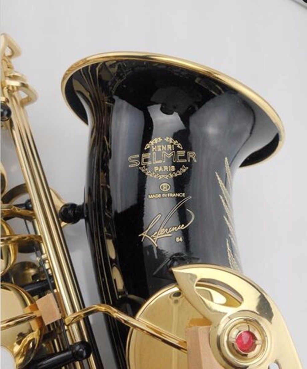 Hot sale saxophone black Alto brass engraving SELMER SAS R54 mode black gold Sax musical instruments