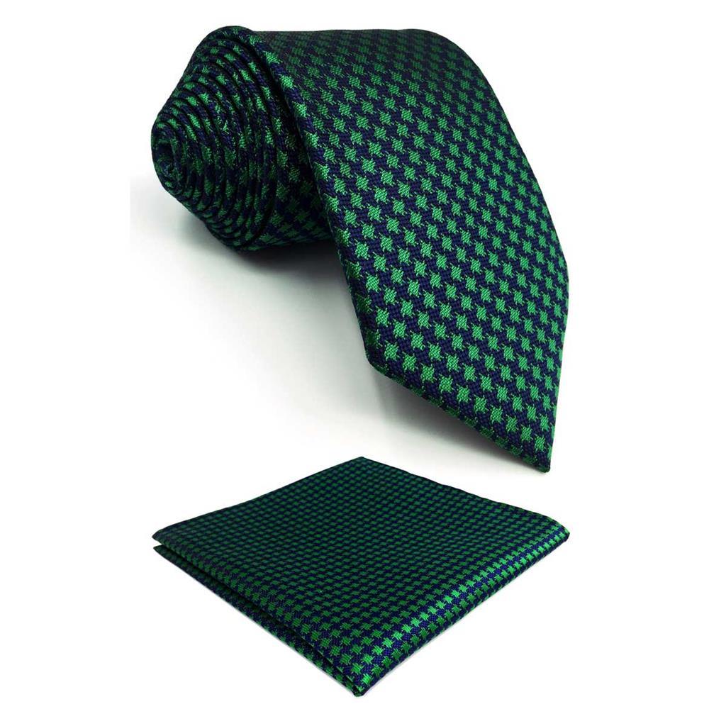 F24 Green Blue Houndstooth Mens Necktie Set Silk Designer Classic Wedding 63