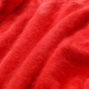 Image 5 - BAHTLEE Angora Coniglio delle Donne di Inverno di Autunno Ha Lavorato A Maglia Pullover Maglione Con Scollo A V Maglione Del Manicotto Del Batwing di Modo di Tenere In Caldo Loosefir