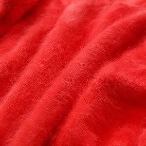 Image 5 - سترة نسائية من BAHTLEE لفصل الخريف والشتاء بلوفر من الأرانب المحبوك بفتحة رقبة على شكل حرف v وأكمام تشبه جناح الخفّاش سترة عصرية دافئة
