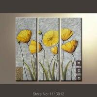 Ручная роспись желтые лилии Современная живопись маслом цветы на холсте 3 Панель Книги по искусству комплект домашнее украшение стены карт...