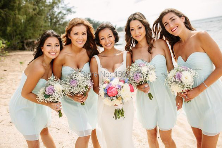 2015 Beach Wedding Party Mint Green Bridesmaid Dresses Short Mini Chiffon Vestido Madrinha Junior Inspired Maid Of Honor Dress In Prom From Weddings
