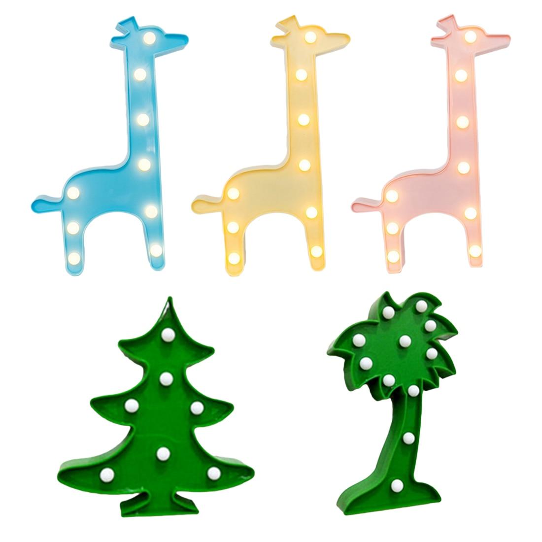 1 pc 3D LED Night Lights Girafe De Noël Arbre De Noix De Coco Arbre Veilleuse Bureau Lampe de Nuit Pour Bébé Enfants Chambre Décoration