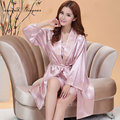 Cheap price Women Robe & Gown Sets Solid color Full sleeve Knee-length Suspender Skirt Good quality Soft Breathable