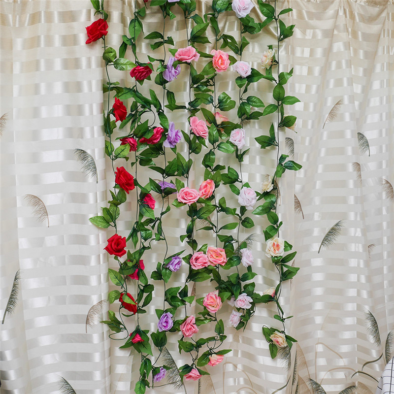 1 PC Buatan Palsu Sutra Mawar Bunga Ivy Tanaman Merambat Gantung Garland  Pernikahan Rumah Taman Bunga ede906da65