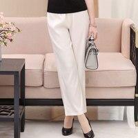 93% Silk and 7% Spandex Elastic High Waist Women's Lounging Straight Pants Sheer Breathable Size L XL XXL XXXL 4XL