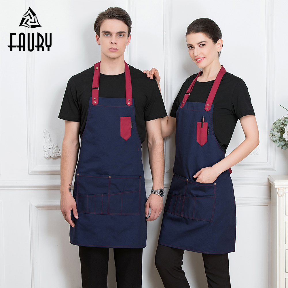2019 Chef Waiter Adjustable Apron Restaurant Kitchen Cooking Cuisine Cafe BBQ Apron For Women Men With Pocket Work Wear Apron