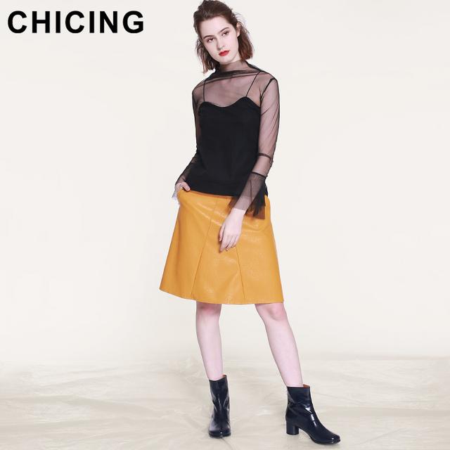 A-Line PU High Waist Midi Skirts