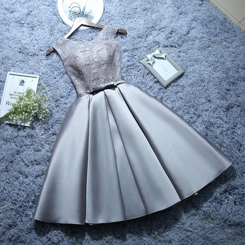 AXJFU vermelho do laço Curto Vestidos de noite cinza personalizar flor Ruffles lace up bow vestidos little white vestido