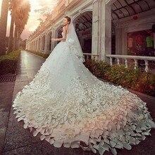 Hot sale Luxury Soft tulle hand made flower Sweetheart Beads Crystal Royal train Wedding Dresses 2015 custom size 2014