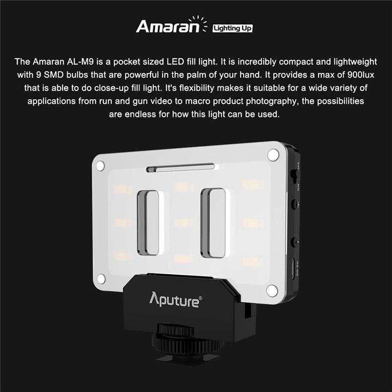 Aputure AL-M9 Pocket LED Video Light on Camera Studio Light Rechargeable Photo Light CRI/TLCI 95 for Canon Wedding Filmmaking - ANKUX Tech Co., Ltd
