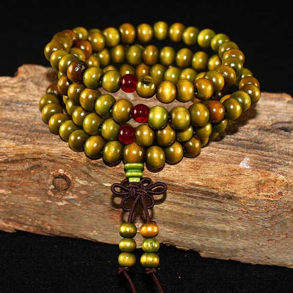 108 cuentas 8mm Natural sándalo budista Buda madera oración cuentas Nudo negro ébano Unisex hombres pulseras y brazaletes para mujeres