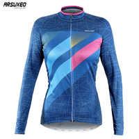 ARSUXEO frauen MTB Fahrrad Kleidung Fahrrad Shirt Frühling Herbst Langen Ärmeln Radfahren Jersey Pro Ciclismo Quick Dry Z6