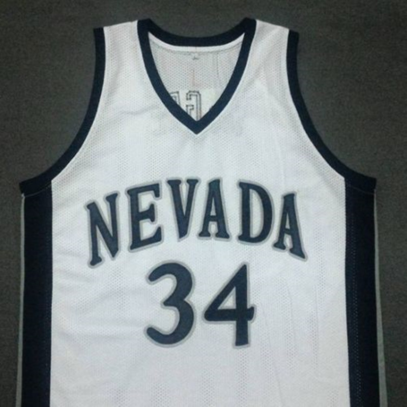 1565197ca ... 34 JaVale McGee Retro Uniforms JaVale McGee Nevada University White College  Basketball Jersey Embroidery Stitched Customize any size and name ...