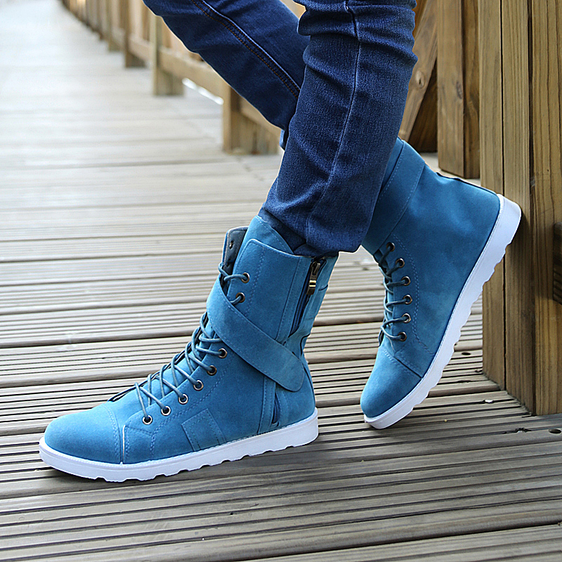 2018 automne hiver hommes bottes courant de marée mâle haut de gamme chaussures hommes toile chaussures hommes Rivet marque chaussures décontractées