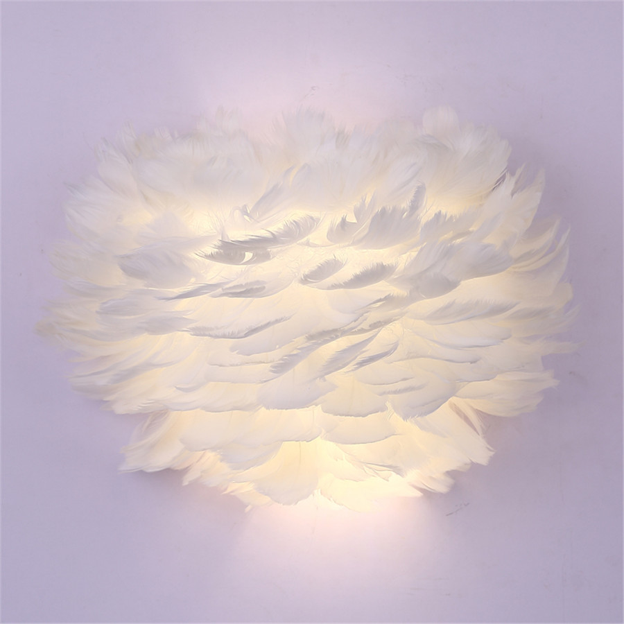 Humble Thrisdar Feather Led Wall Lamp With E14 Base Bedroom Bedside Aisle Creative Wall Lamp Hotel Restaurant Corridor Wall Lamp Large Assortment Lights & Lighting