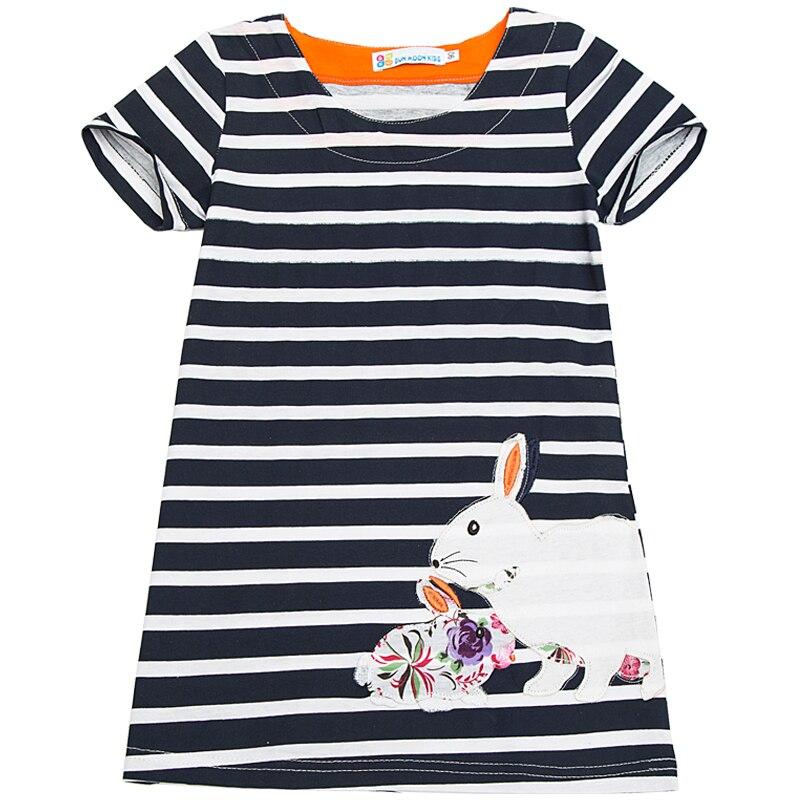Летние шорты рукавами для маленьких девочек Костюмы в полоску вышитые кролик детские платья Детская Хлопковая одежда Vestidos Платье для малыш...